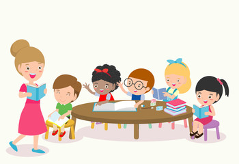 Teacher and school kids in classroom at lesson, Pupils study in the classroom, children with Teacher in classroom, vector illustration