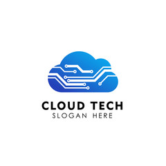 cloud tech logo design template. electric cloud logo vector icon