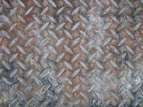 old rusty grunge diamond metal plate textured background