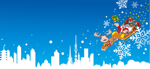 サンタと雪が舞い降りる町