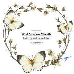 Eco design wreath with buttetrflies and bumblebee