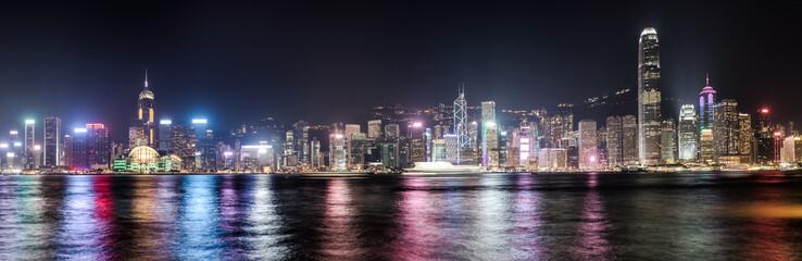 Hong Kong skyline at night. Panorama Fotomurales