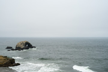 The view in Lands End, San Francisco. summer , cloud , rock , plant, sea