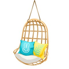 Chair hanging on the rope with soft cushions. Set of elements interior isolated on a white background. Vector cartoon close-up illustration.
