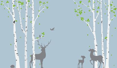 Birch Tree with deer and birds Silhouette Background for wallpaper sticker