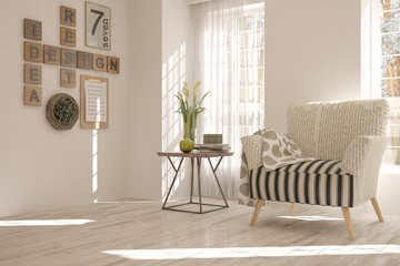 Inspiration of white minimalist room with armchair. Scandinavian interior design. 3D illustration