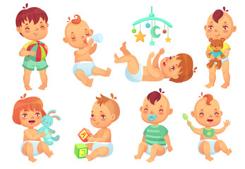 Smiling cartoon baby. Happy cute little kids playing with toys, small infant with pacifier and newborn children isolated vector set