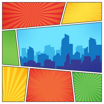 City on comic page. Comics book frames composition on strip halftone background. Cartoon books vector template layout illustration