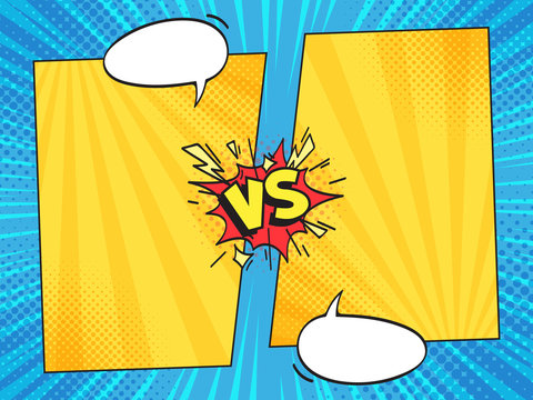 Versus comic frame. Vs comics book frames with cartoon text speech bubbles on halftone stripes background vector template