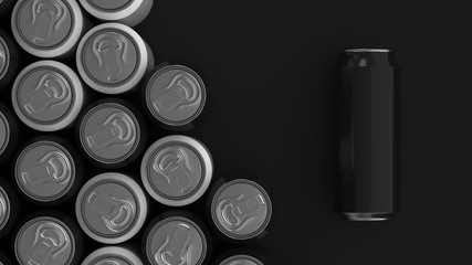 Big black and white soda cans on black background