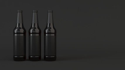 Mock up of tall beer bottles with blank labels