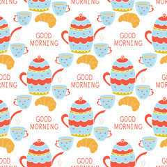 Background. Kettle, cup, bagel. Inscription - Good morning. Wallpaper, seamless. Silhouette.