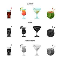Vector illustration of drink and bar symbol. Collection of drink and party stock vector illustration.