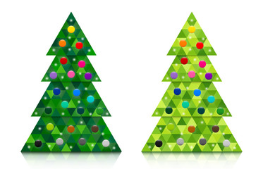 Set of abstract coniferous trees consisting of triangles with reflection and decorated with colorful baubles. Two shades of green. Vector EPS 10