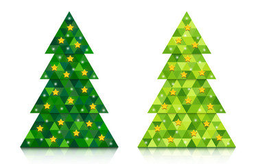 Set of abstract coniferous trees consisting of triangles with reflection and decorated with stars. Two shades of green. Vector EPS 10