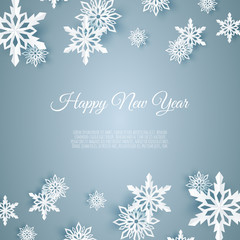Christmas card with paper snow flake. Falling snowflakes on a blue background.