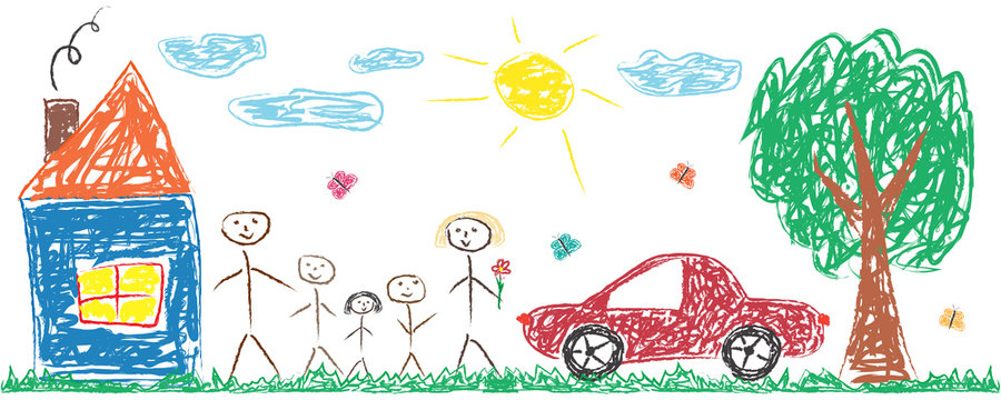 Children drawing cheerful family, house, tree, car, sun. Colorful isolated vector illustration