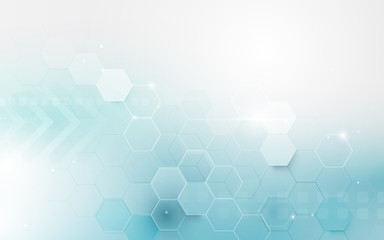 Wall Mural - Abstract blue geometric hexagon shape and lines with science concept background