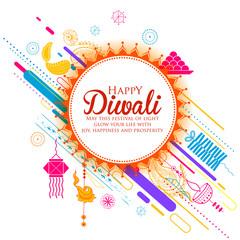 Burning diya on Happy Diwali Holiday background for light festival of India