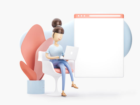 3d illustration. the girl is on the internet. social media concept