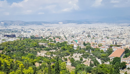 Scenic view of Athens, Greece with Ancient Agora and Temple of Hephaisteion - Hephaestus