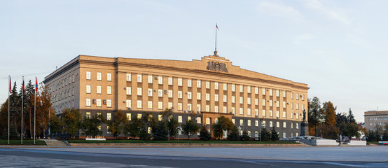 Lenin Square and the Soviet-style administrative building of the Oryol Oblast Government, Russia