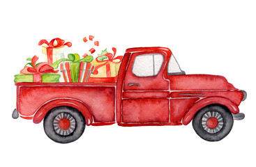 Red Christmas truck with gifts New year watercolor illustration