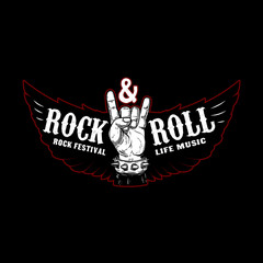 Rock and roll festival. Rocker sign and wings. Design element for logo, label, emblem, sign, poster.