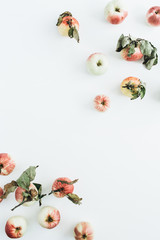 Border frame of apples on white background. Flat lay, top view healthy concept.