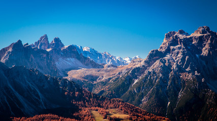 Autumn trekking in the alpine Pusteria valley