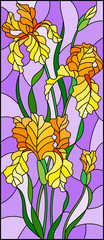 Illustration in stained glass style with  bouquet of yellow irises, flowers, buds and leaves on purple background