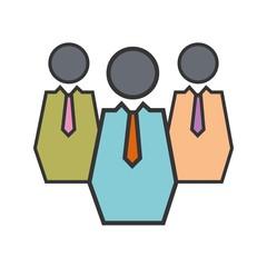 Teamwork line filled icon