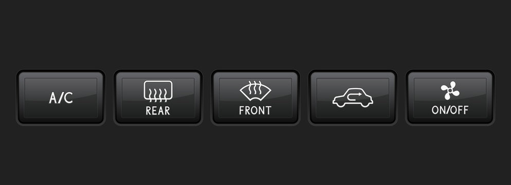 Car dashboard black buttons