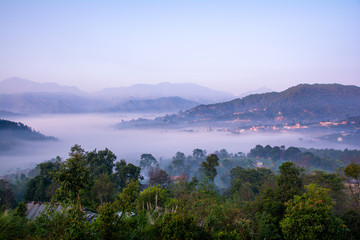 Village land covered by fog