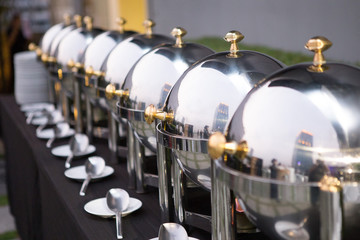 Chafing dishes on the table