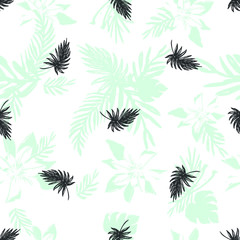 Dynamic Hand Drawn Brush  Shapes and Exotic Palm Leaves Print . Illustration for Surface , Invitation , Notebook, Banner , Wrap Paper ,Textiles, Cover, Magazine ,Postcard Background ,Textile,Fashion