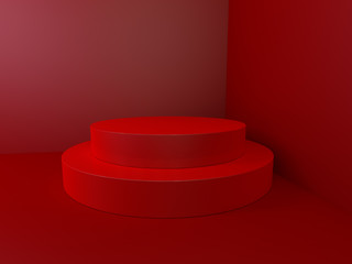 Beautiful wall and empty podium. 3D