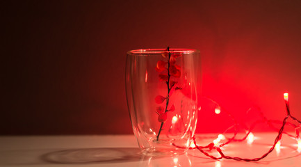 Red background. Red light bulb. A transparent glass with a twig inside. Beautiful Christmas decorations. Home interior design. Best Home decor ideas. Home Decor