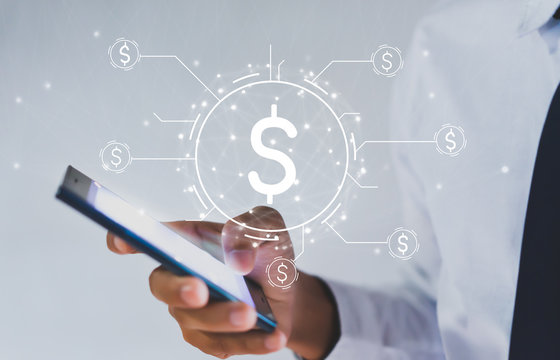 Internet banking concept. Money icon. Businessman Use smartphone Financial transactions