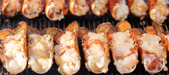 Grilled shrimp with cheese, Street food in Myeongdong, seoul, korea