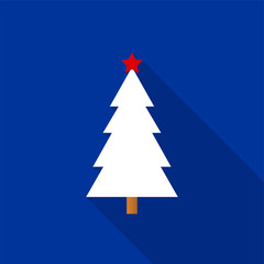 White Christmas tree icon with a red star and long shadow on a blue background. Vector Illustration EPS 10