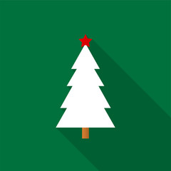 White Christmas tree icon with a red star and long shadow on a green background. Vector Illustration EPS 10