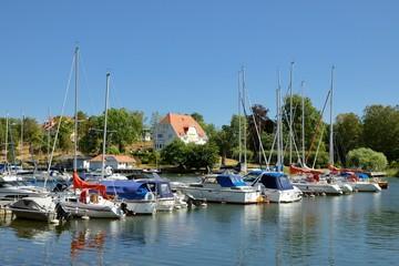 Nynäshamn Archipelago with marina in summer and blue sky