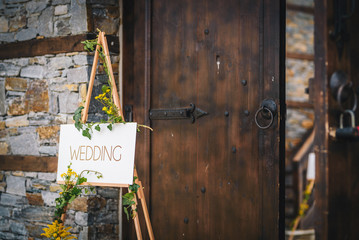 Wedding sign and flower decoration