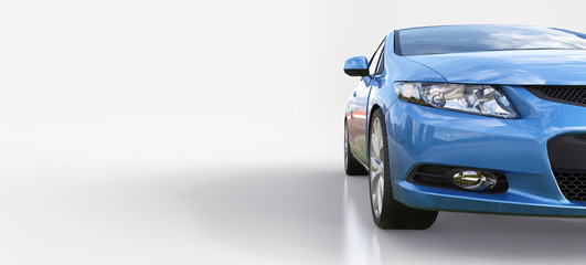 Blue small sports car coupe. 3d rendering.