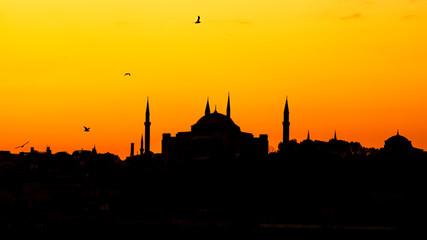 Hagia Sophia in Istanbul at sunset