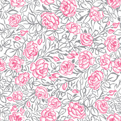 PInk Roses Seamless Pattern on White Background