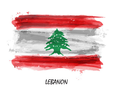 Realistic watercolor painting flag of Lebanon . Vector