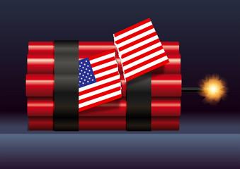 élection, américaine, 2018, dynamite, drapeau, américain, politique, USA, division, électeur, électorat