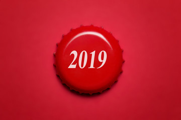 New Year 2019. The inscription on the red cover close-up Fototapete